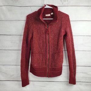 Anthropologie Pom Pom Knit Maroon Sweater